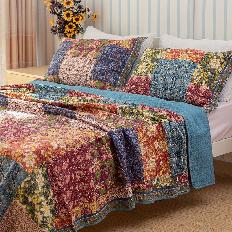 us 8639 28 offchausub vintage floral coverlet set 3pcs washed cotton quilt bed cover quilted bedspread bed sheets pillowcase quilts king size in Modern Vintage Floral Quilt Inspirations
