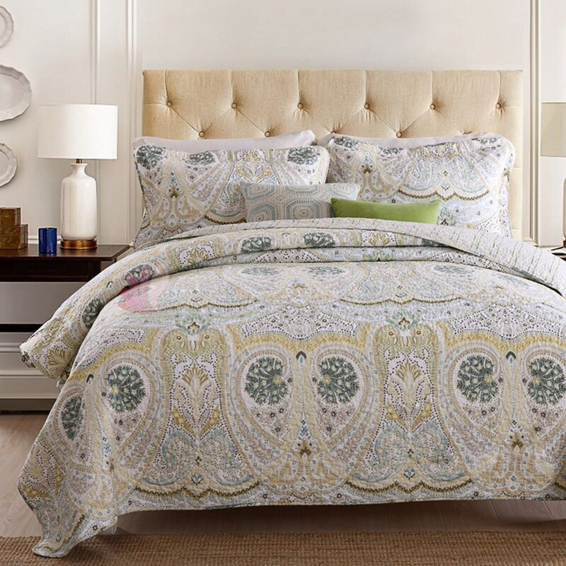 us 9791 28 offchausub bedspread quilt set 3pcs coverlet vintage printed cotton quilts quilted bed cover sheets pillowcase king size blanket in Vintage King Size Quilts Inspirations