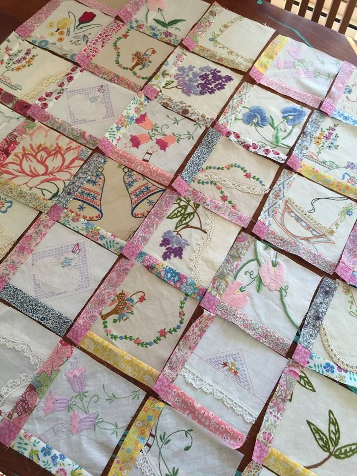 vintage embroidery quilt in progress sew much fabric Cool Quilt Embroidery Patterns