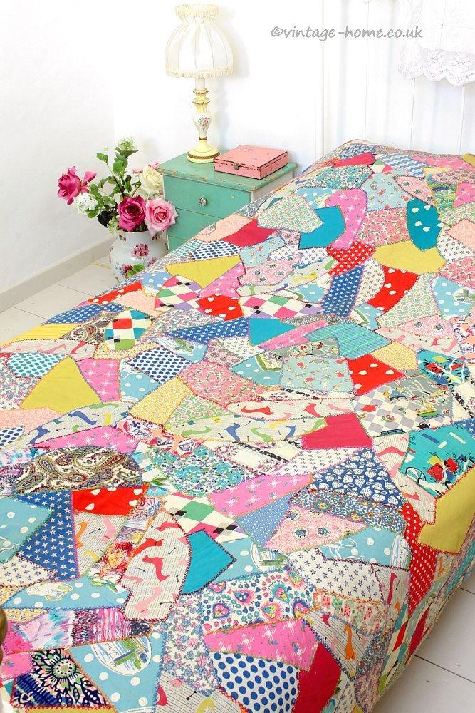 vintage home shop colourful 1940s crazy paving patchwork Unique Patchwork Quilt Patterns Uk Inspirations