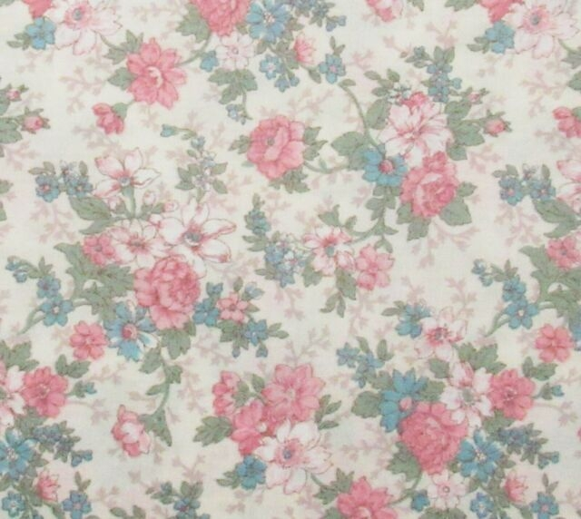 vintage joan kessler pink ba blue ivory shab floral cotton quilting fabric New Pink Floral Quilting Fabric Inspiration Gallery