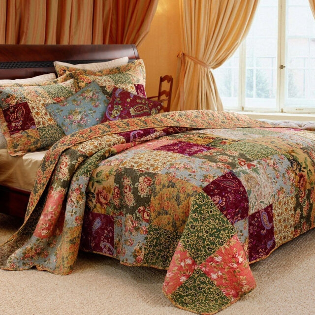 vintage king size patchwork quilt country style bedding with pillow sham floral Vintage King Size Quilts Inspirations