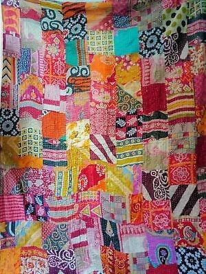 vintage patchwork kantha quilt blanket indian quilts bedspread twin cotton throw ebay Elegant Vintage Patchwork Quilt Gallery