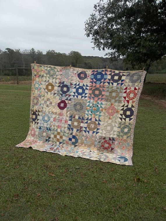vintage quilt handmade pieced quilt antique quilt 68 x 82 Elegant Vintage Quilts And Bedspreads Inspirations