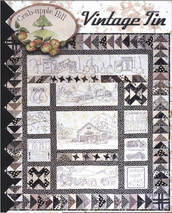 vintage tin 274 quilt pattern quilting hand embroidery crabapple hill studio meg hawkey Modern Vintage Tin Quilt Pattern