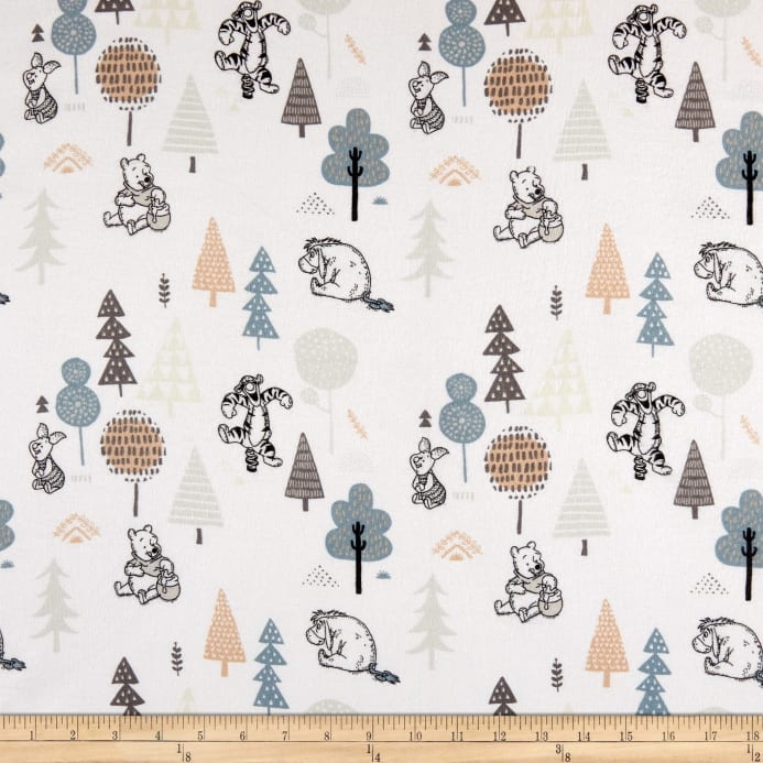 winnie the pooh wonder whimsy forest friends flannel white Stylish Flannel Quilting Fabric Gallery