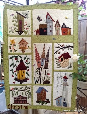 birdhouse quilt from scrap quilt stitch house quilt Elegant Birdhouse Quilt Patterns Gallery