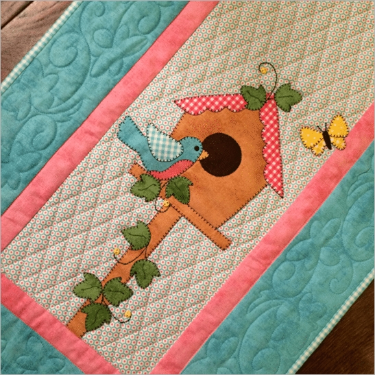 birdhouse table runner quilt pdf downloadable pattern Elegant Birdhouse Quilt Patterns Gallery