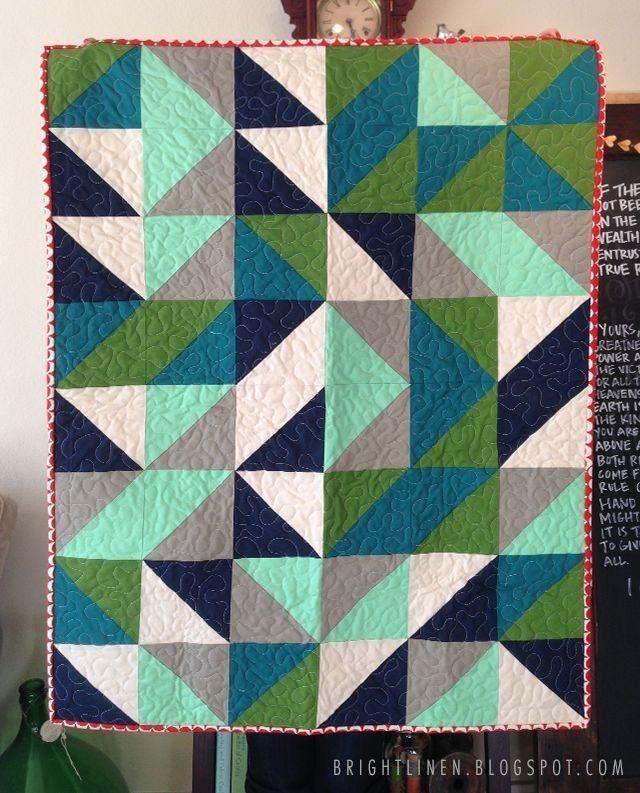 bright linen tutorial fat quarter half square triangle Elegant Modern Half Square Triangle Quilts Gallery