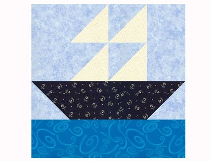 cute sailboat ba quilt pattern in two sizes Modern Sailboat Quilt Block Pattern