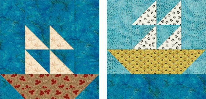 easy sailboats quilt pattern with 2 quilt blocks Modern Sailboat Quilt Block Pattern