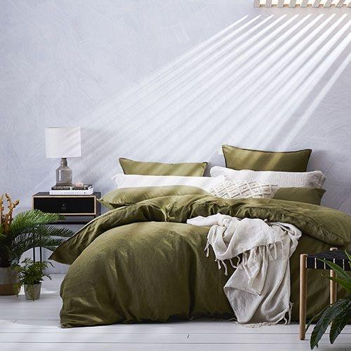 home republic vintage washed linen quilt cover olive Unique Vintage Washed Linen Quilt Cover Gallery