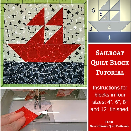 sailboat quilt block pattern 4 6 8 and 12 sizes Modern Sailboat Quilt Block Pattern