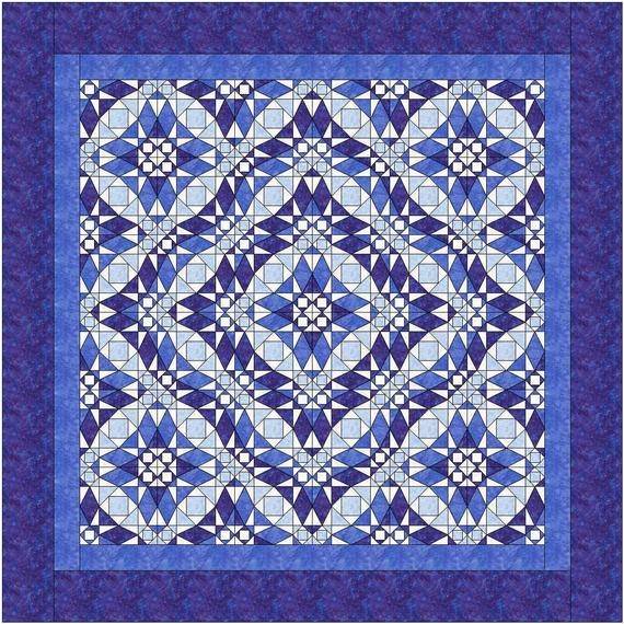 three quilt patterns queen size all from one block storm at sea instant download pdf quilt pattern Modern Downloadable Quilt Patterns Inspirations