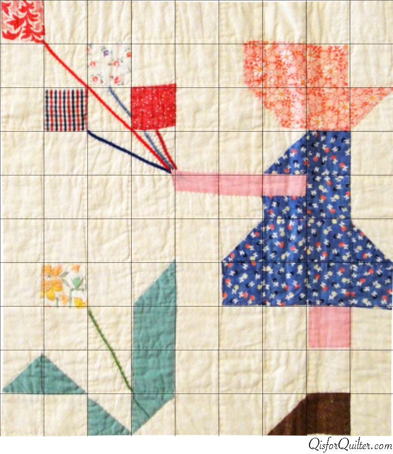 vintage sunbonnet sue pieced quilt pattern q is for quilter Unique Sunbonnet Sue Quilt Block Pattern