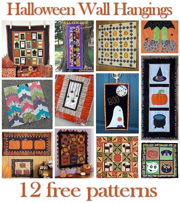 12 halloween wall hanging quilt patterns hidden treasure Cool Halloween Quilts Patterns Inspirations