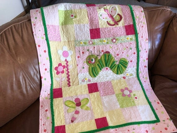 ba girl quilt pattern going buggy cute animal themed gift easy bed or wall hanging appliqu Elegant Applique Quilt Patterns For Babies