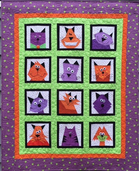 crazy cats paper pieced quilt pattern in pdf Interesting Foundation Pieced Quilt Patterns Inspirations