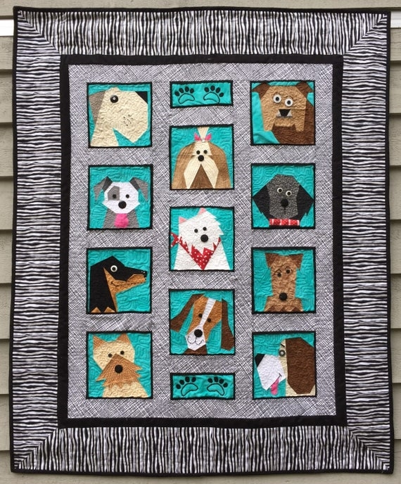 dogs only paper pieced quilt pattern in pdf Interesting Foundation Pieced Quilt Patterns Inspirations