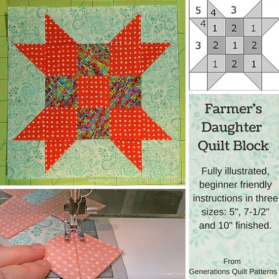 farmers daughter quilt block 5 7 12 10 finished Cool 10 Inch Quilt Block Patterns