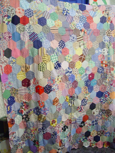 hexagons vintage quilt top sold cindy rennels antique quilts Unique Vintage Quilts For Sale