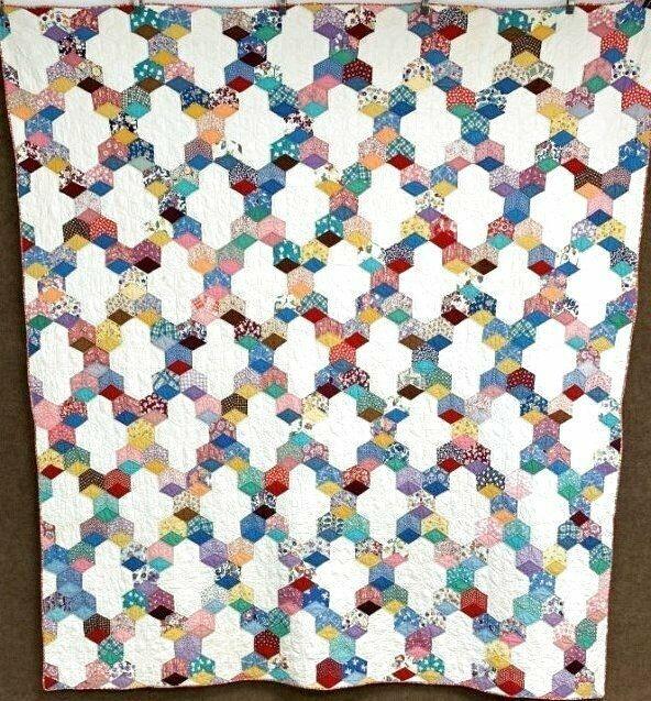 juvenile feedsack c 1930s tumbling block quilt vintage la Elegant Unique 1930s Quilt Fabric Ideas Gallery
