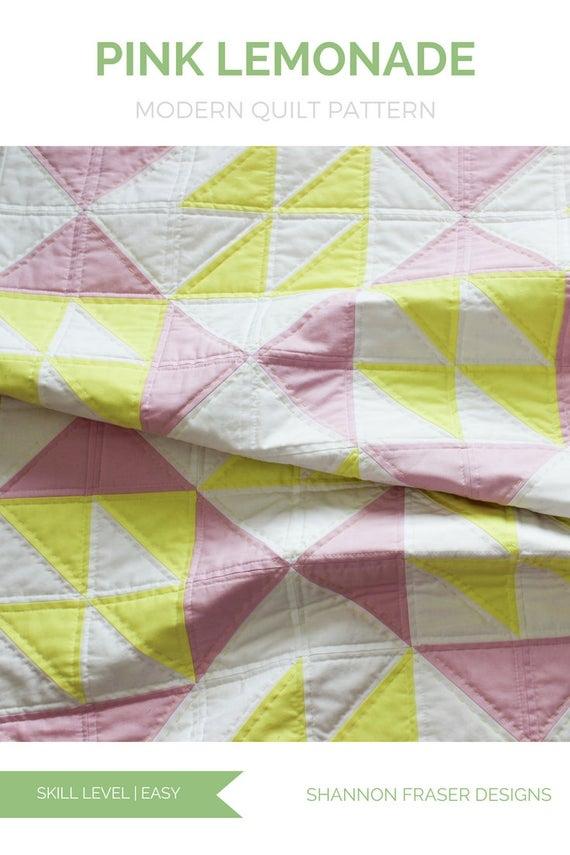 pink lemonade quilt pattern beginners quilt pattern modern quilt pattern fast easy quilting Elegant Pink Lemonade Quilt Pattern