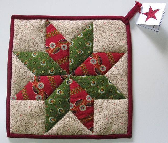 quilted pot holder patterns potholder lemoyne star Stylish Quilted Pot Holder Pattern