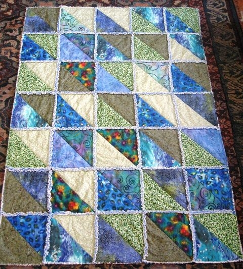 rag quilts with triangles switched to 12 12 half square Cool Quilts With Triangles