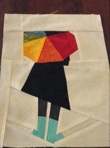 spring fling mini 2015 paper piecing patterns paper quilt Elegant Umbrella Girl Quilt Pattern