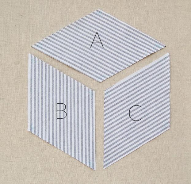 striped tumbling blocks quilt purl soho Cozy Tumbling Blocks Quilt Pattern Template Gallery