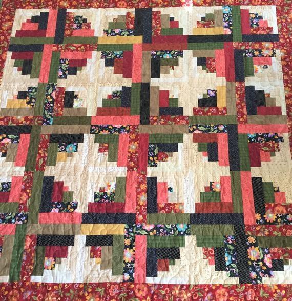 traditional log cabin quilt patchwork log cabin quilt large lap quilt large throw quilt Elegant Traditional Log Cabin Quilt Pattern Gallery