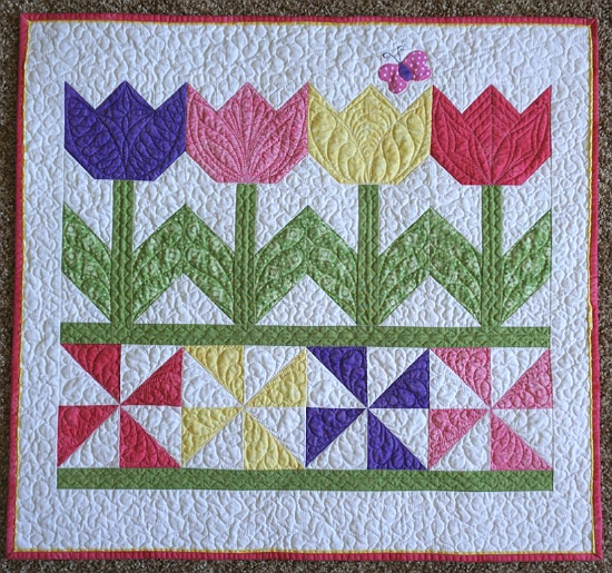 tulip time quilt is a breeze to make quilting digest Make A Patchwork Tulip Quilt Block Patterns Gallery
