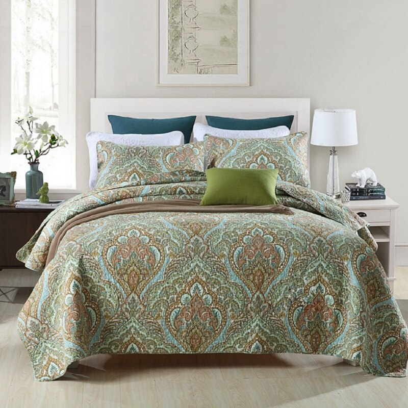 us 8945 29 offchausub quilt set 3pcs cotton quilts quilted bedspread bed cover pillow shams vintage paisley printed coverlet set king size in Unique Vintage Paisley Quilt