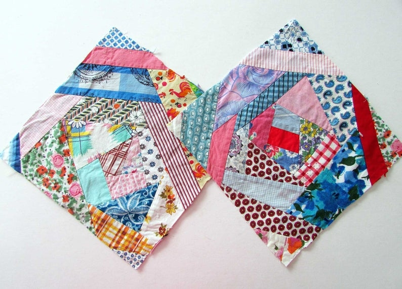 vintage quilt squares quilt blocks pair of 1940 50 vintage 11 inch size crazy quilt cotton and feed sack fabrics quilt squares Stylish Vintage Quilt Blocks Inspirations