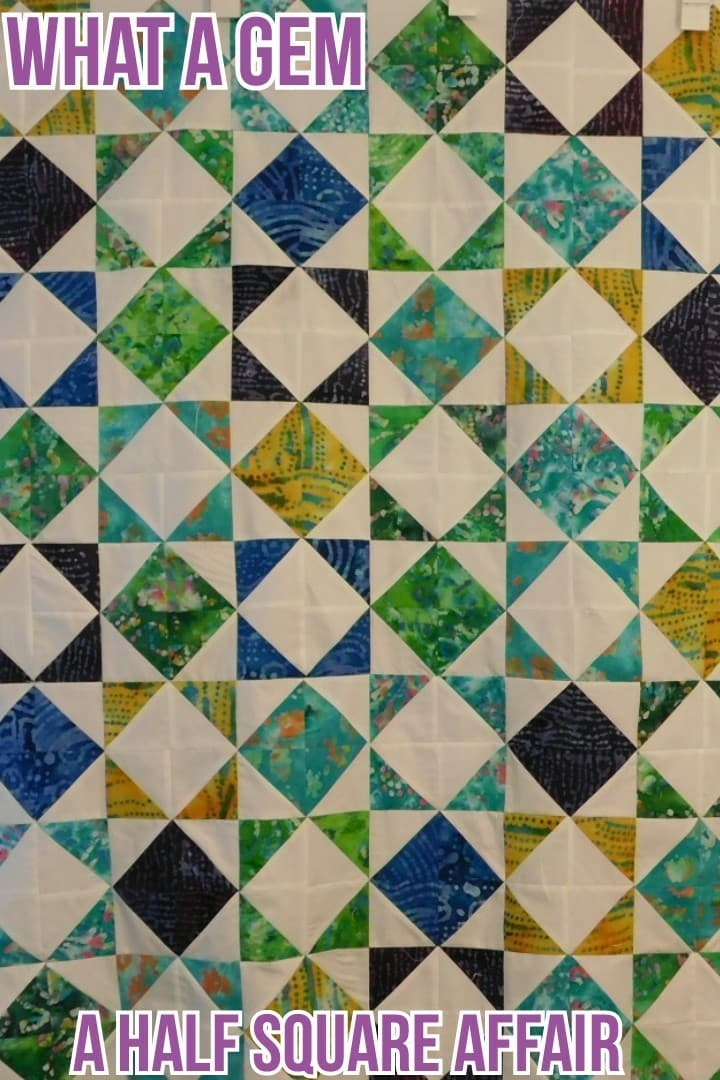 what a gem quilt pattern a half square affair Cozy Half Square Triangle Quilt Designs