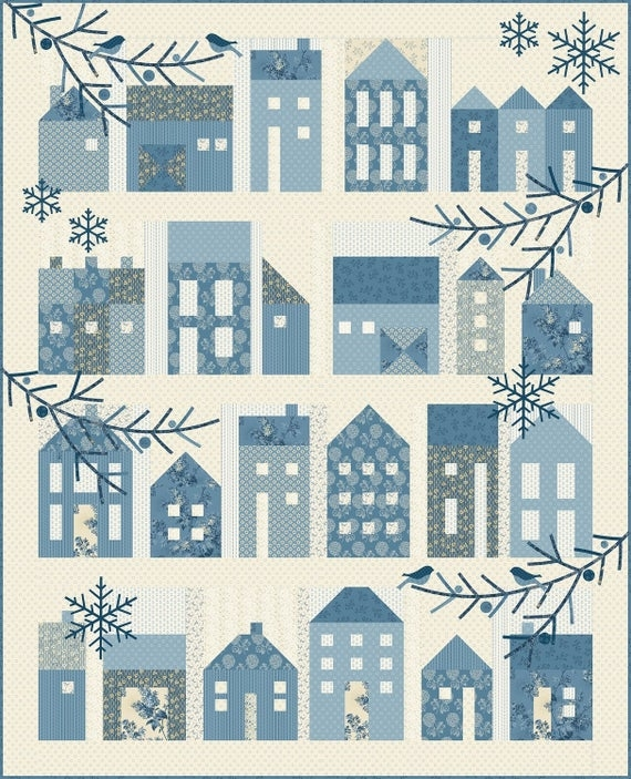 winter village quilt pattern edyta sitar laundry basket quilts lbq 0634 p applique houses quilt pattern Modern Laundry Basket Quilts Patterns