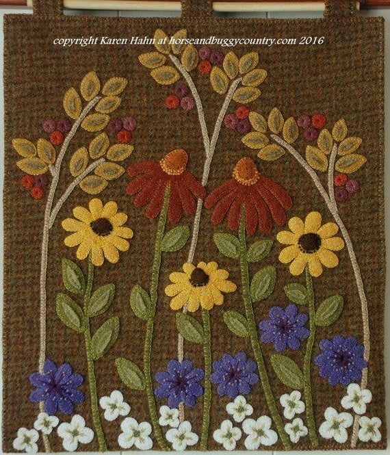 wool applique pdf e pattern autumn garden wall hanging autumn fall cone flowers chicory felted wool hand dyed rug hooking wool quilt block Modern Felted Wool Quilt Patterns Gallery