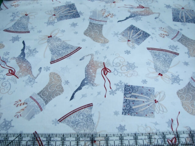 Beautiful 3 yards quilt cotton fabric quilting treasures holiday elegance bells reindeer 11 Stylish Elegant Quilted Cotton Fabric