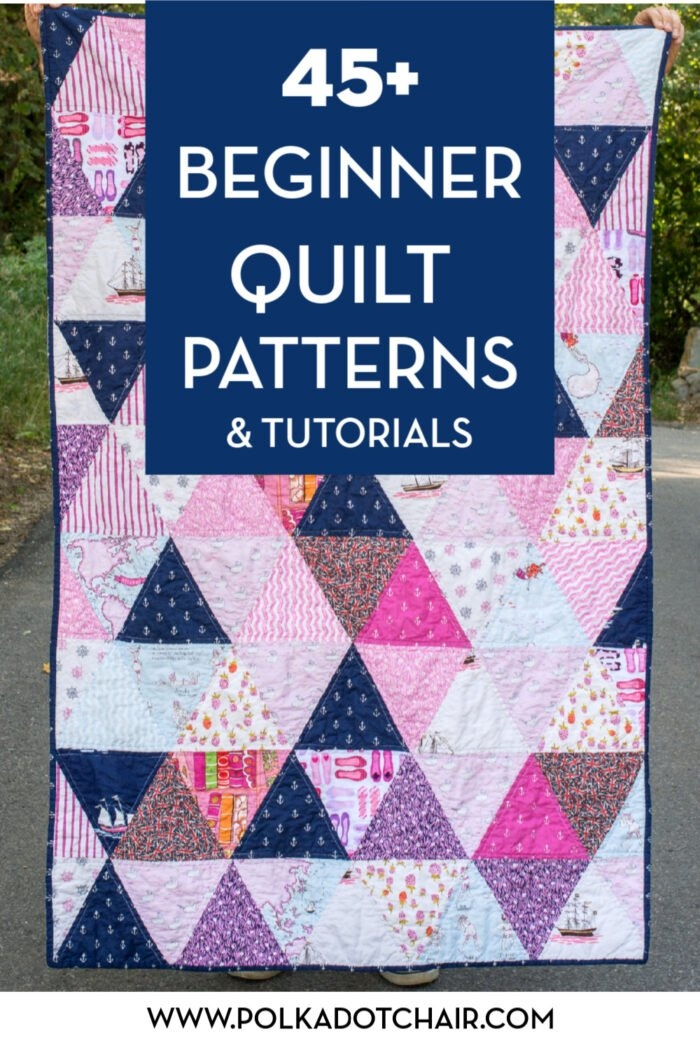 Beautiful 45 easy beginner quilt patterns and free tutorials polka Unique Triangle Patchwork Quilt Patterns