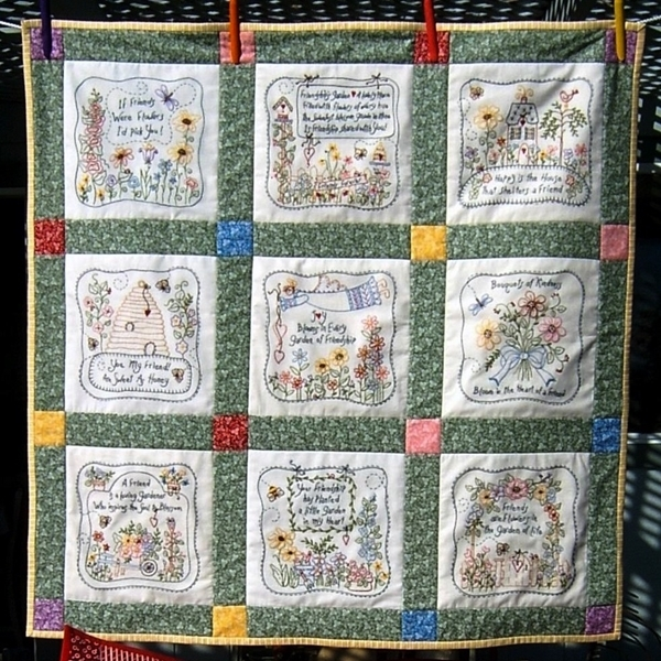 Beautiful friendships garden quilt hand embroidery pattern 10 Cool Hand Embroidery Quilt Patterns
