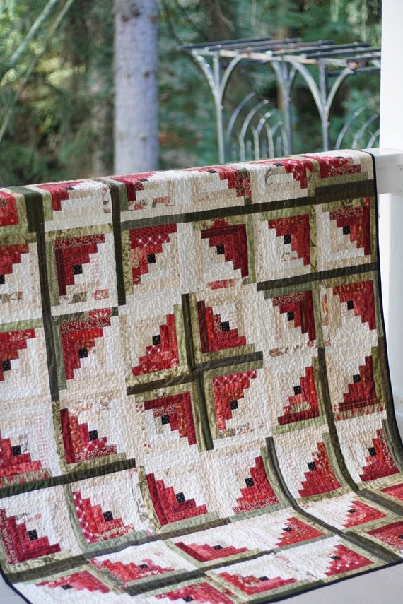 Beautiful log cabin quilt patterns pdf easy quilt patterns beginner quilt pattern watermelon quilt 9 Cool Log Cabin Quilting Pattern
