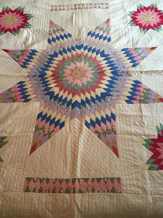Beautiful lone star vintage hand stitched quilt 9 Stylish Vintage Hand Stitched Quilts