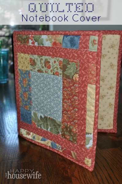 Beautiful quilted notebook cover the happy housewife home management 10 Modern Quilted Book Cover Pattern