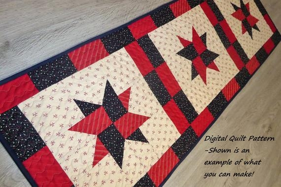Beautiful table runner quilt patterns table runner patterns patriotic quilt pattern scraps or jelly roll pattern digital download beginner star 9 Cool Table Runner Quilting Patterns Gallery