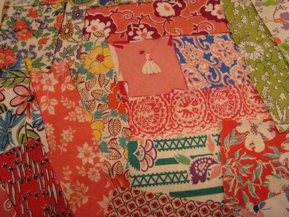 Beautiful vintage feedsack fabric scraps for sale in my etsy shop 9 Beautiful Vintage Quilting Fabrics For Sale Gallery