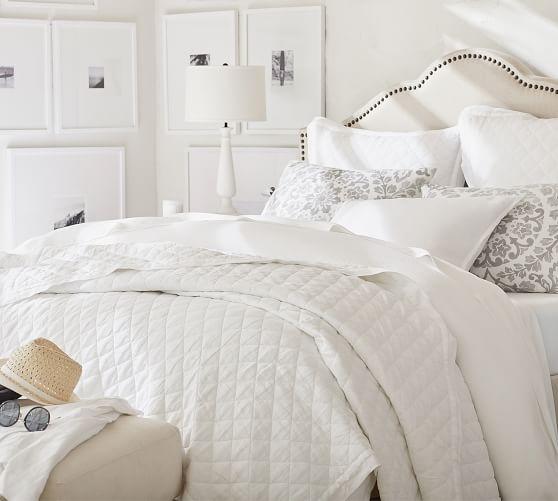 belgian flax linen diamond quilt shams white Modern Pottery Barn Quilts Gallery