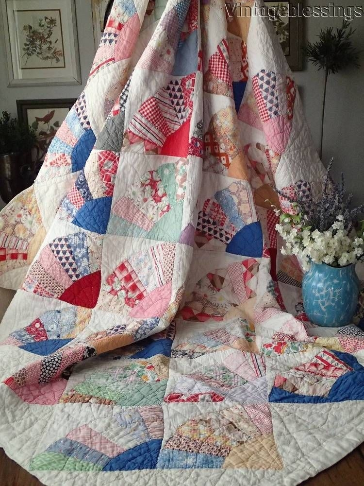 Cool beautiful vintage 30s fans quilt 80×60 blue feedsacks 11 Interesting Vintage Quilt Kits Gallery