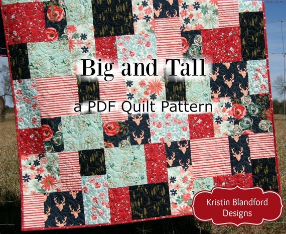 Cool big block quilt pattern modern mosaic big and tall fat quarter throw ba lap quilting size fast easy simple contemporary beginner large 9   Big Block Quilt Patterns For Beginners Gallery