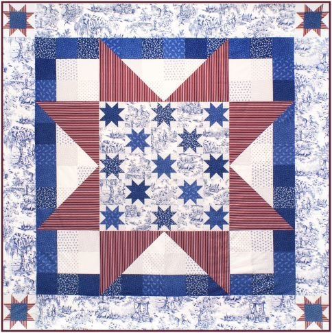Cool broad stripes bright star free pattern robert kaufman 10   Patriotic Quilt Fabric Inspiration Gallery